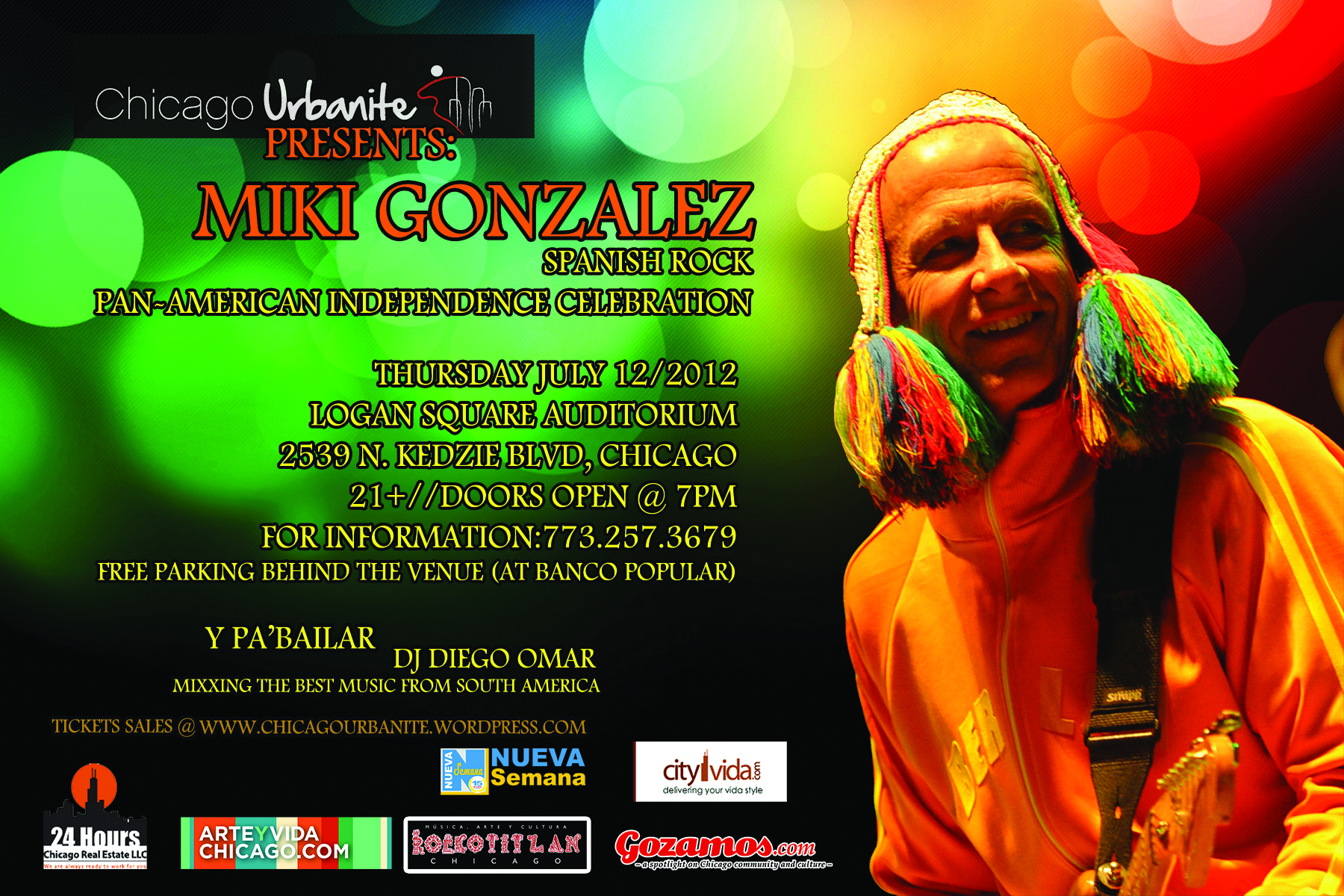 July 12 miki gonzalez pan american independence concert for 4 suyos peruvian cuisine chicago il