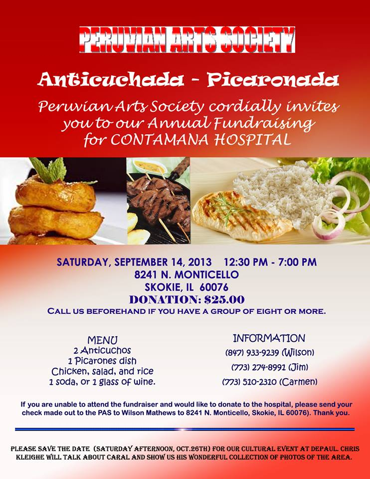 Peruvian Fundraising Events in Chicago this Weekend